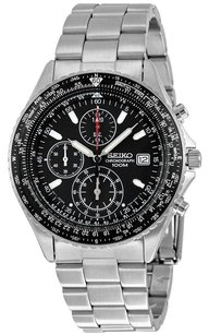 Seiko Chronograph Tachymeter Black Dial Stainless Steel Men's Watch