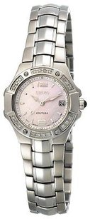 Seiko Seiko Coutura Diamond Ladies Pink Mop Dial Stainless Steel Dress Watch Sxd691