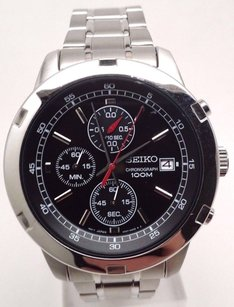 Seiko Seiko Quartz Mens Black Dial Chronograph Stainless Steel Watch Sks421