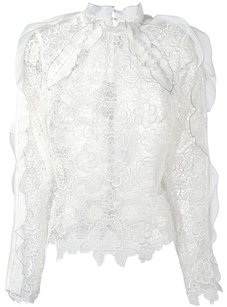 self-portrait Mesh Lace Top White