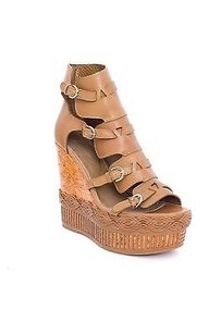 Sergio Rossi Leather Brown Platforms