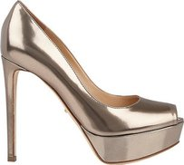 Sergio Rossi Leather Gold Platforms