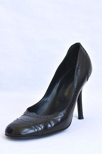 Sergio Rossi Womens Leather Wingtip High Heel Blacks Pumps