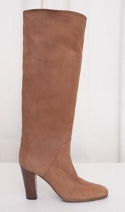 Sergio Rossi Womens Leather High Heel Tall Brown Boots
