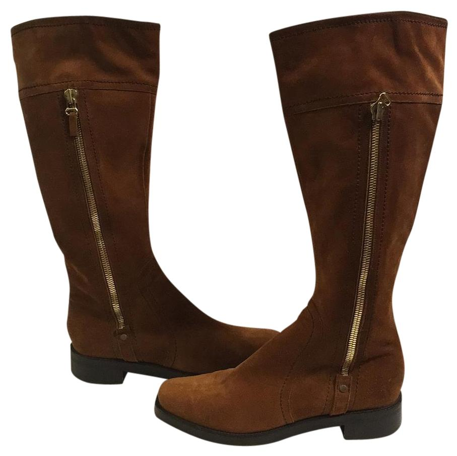 sergio suede side zipper reddish brown boots on