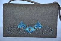 Sergio Rossi Wool Embroidered Beaded Handbag Shoulder Bag