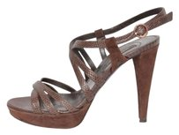 Sergio Rossi Womens Lizard Suede High Heel Platform Ankle Strap Browns Pumps