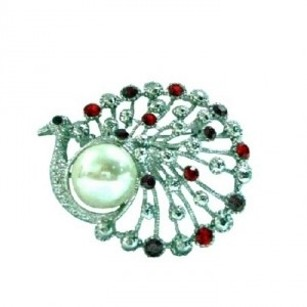 Silver Ivory Siam Red Crystals Pearl Round Peacock Dress Brooch/Pin