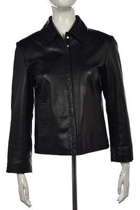 Siena Studio Womens Leather Coat Casual Long Sleeve Black Jacket