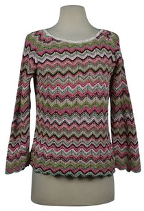 Sigrid Olsen Womens Chevron Crew Long Sleeve Cotton Casual Sweater
