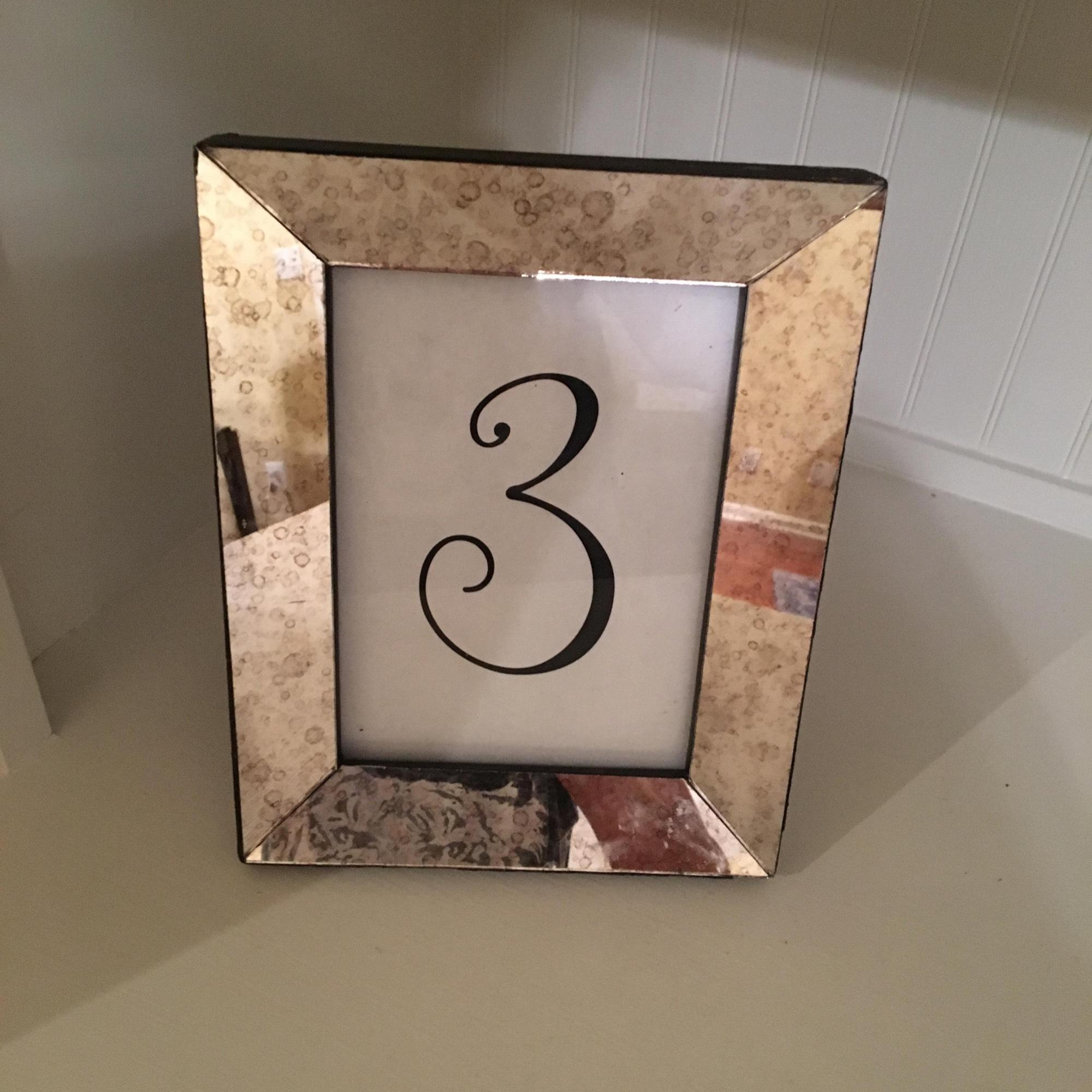 Silver Mercury Glass Table Number Holders Centerpiece