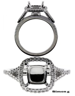 Simon G 50ct Diamond Engagement Ring In 18k Fits 2ct 7mm Square Cut Diamon