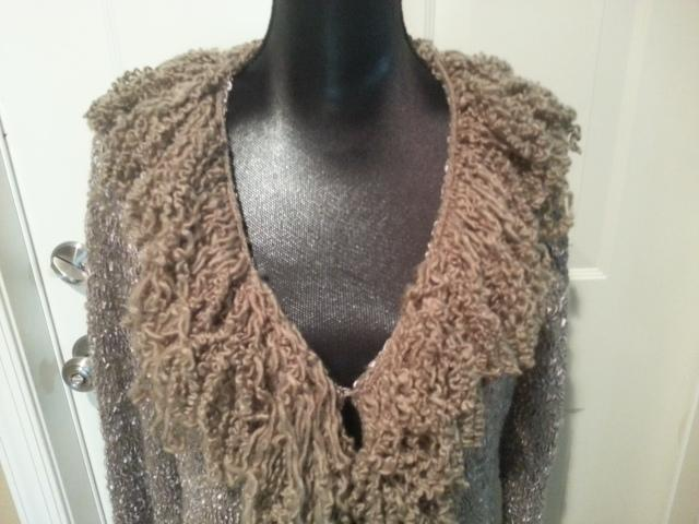 Sioni Long Taupe Sweater Coat Lace Hem Cardigan