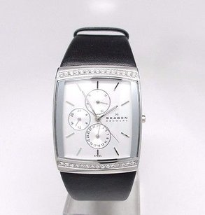 Skagen Denmark Skagen 656lslb Womens Black Genuine Leather Silver-tone Dial Doesnt Work