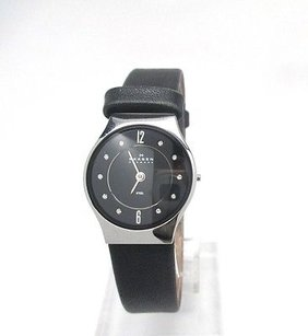 Skagen Denmark Skagen Leather Womens Stainless Steel Case Leather Strap Watch 233xsslb