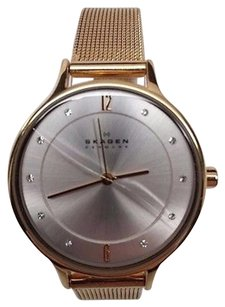 Skagen Denmark Womens Gold Skagen Anita Crystallized Mesh Watch Skw2150