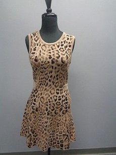 Skaist Taylor Stretchy Side Ribbed Animal Print Sm2114 Dress