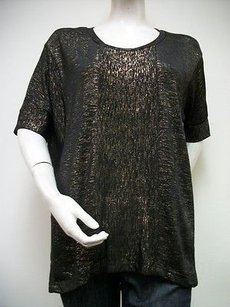 Skies Are Blue Metallic Gold Scoop Neck Style 31332 Top Black