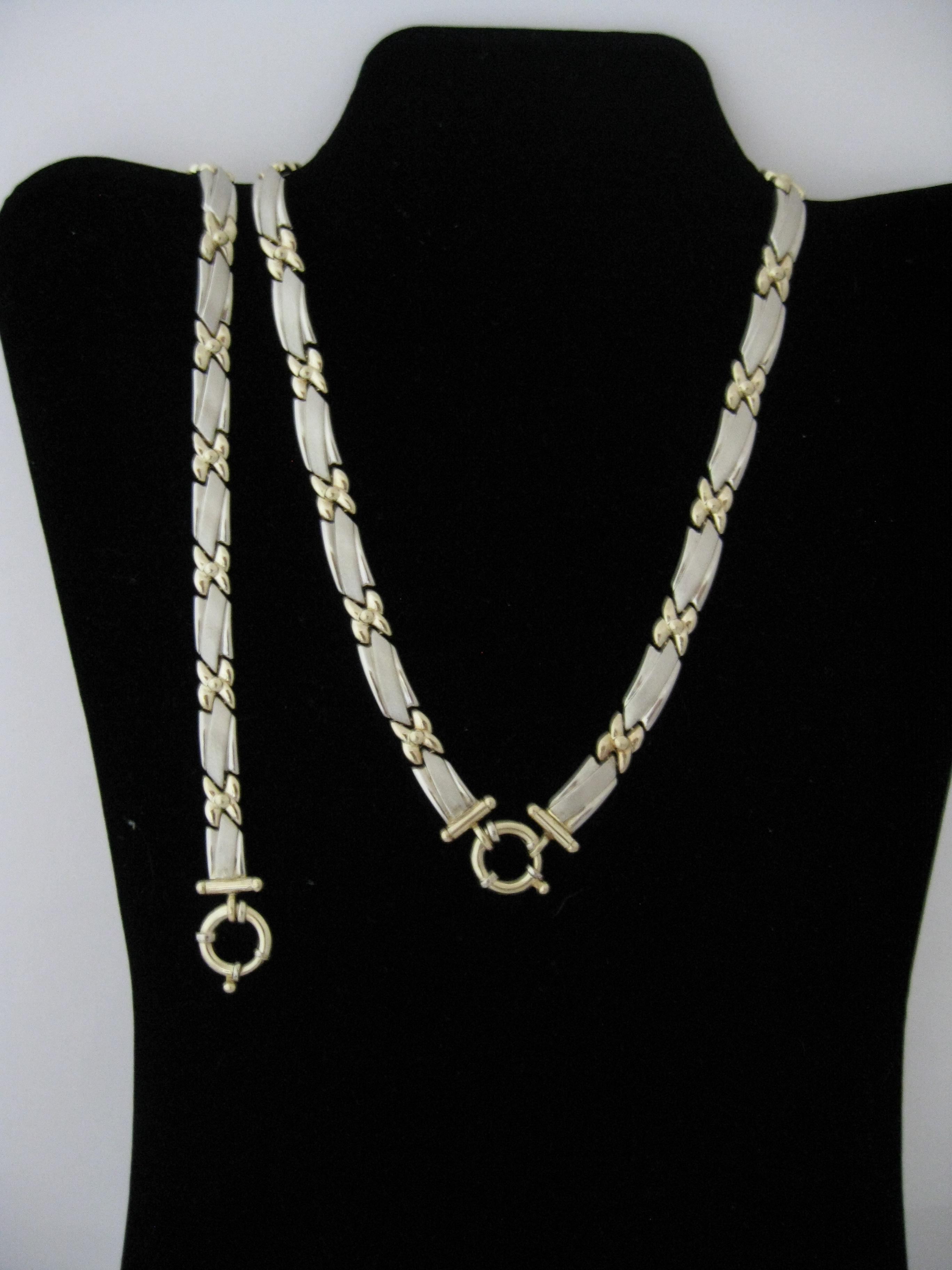 Solid 14 Karat Twotone White and Yellow Gold Necklace and Bracelet