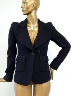 Sonia Rykiel Sonia Rykiel France Black Wool Peacoat Coat