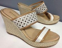 Sperry Top Sider Cutout Leather Slip On Espadrille Wedge Sandal B2690 White Platforms