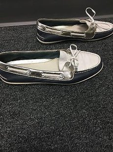 Sperry Top Sider N Leather Slip On Casual Boat B3113 Blue and White Flats