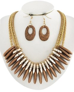 SPICA Rose Gold Tone Copper Acrylic & Lt.beige Cord Necklace & Earrings