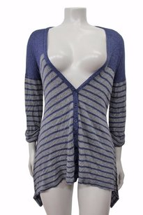 Splendid Striped Asymmetrical Hem Cardigan Rayon Sweater