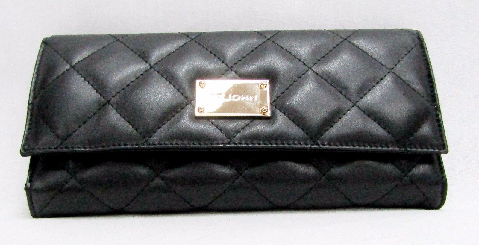 St John Black New Leather Case Quilted Organizer Travel Tradesy