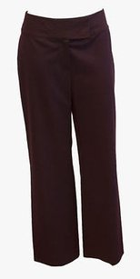 St. John John Collection Maroon Burgundy Flat Front Career Trousers Hs5 Pants
