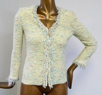 St. John Sport P Multi Tweed Fringe Knit Zip Front Jacket Sweater