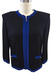 St. John Collection Knit Blue Trim Zip Front Black Jacket