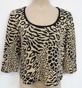 St. John St Beige Black Animal Sweater