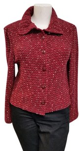 St. John Soft Casual Knit Wool Holiday Dark Red Blazer