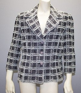 St. John St. John Collection Black Blue Knit Plaid Blazer Jacket Hs91