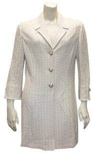 St. John St. John Collection Ivory Basket Weave Knit Long Coat Blazer Hs1322