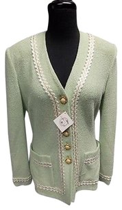 St. John St. John Collection Mint Green Wool Blend Button Down Knit Blazer Sma9588