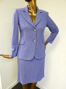 St. John St John Evening 86 Lavender Sparkle Knit 2pc Jacket Skirt Suit Usa