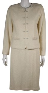 St. John St John Evening Womens Ivory Skirt Siut 1012 Wool Blazer