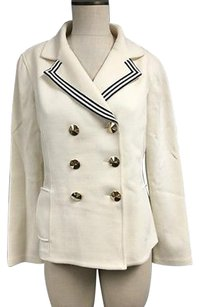 St. John St. John Ivory Wool Blend Double Breasted Gold Stud Button Blazer Sma11712