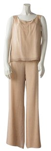 St. John St John Evening Gold Silk 2pc Sleeveless Scoop Neck Top Shell Pant Hs2754