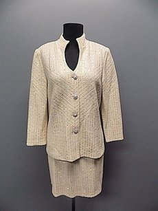 St. John St. John Evening Beige Sequined Wool Blend Two Piece Skirt Suit 855a
