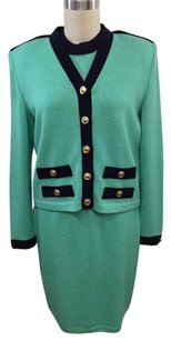 St. John St John Collection Mint Green Navy Trim Piece Skirt Suit S P