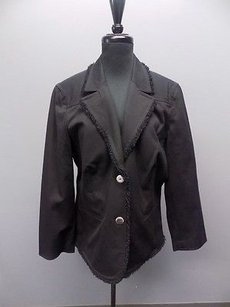 St. John St. John Sport Black Cotton Blend Two Button Collared Blazer Jacket 1198a