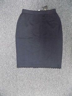 St. John Collection Stretchy Elastic Waist Knit Pencil Sma9650 Skirt Black