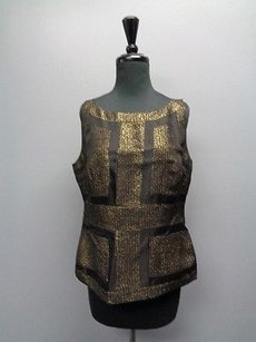 St. John John Couture Sequenced Sleeveless Silk Blend Sma5135 Top Black And Gold