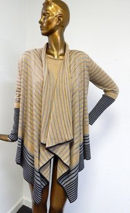 St. John Rt P Camel Striped Knit 2pc Twinset Jacket Shell Sweater