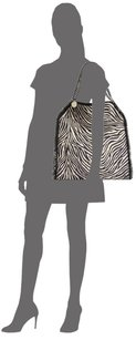 Stella McCartney Animal Linen Tote in Zebra print with gun metal hardware