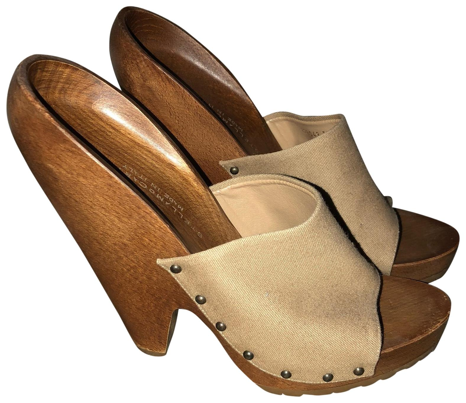 16dd39999 Stella McCartney Beige and and and Wood 198049 Mules Slides Size EU 37  (Approx. US 7) Wide (C