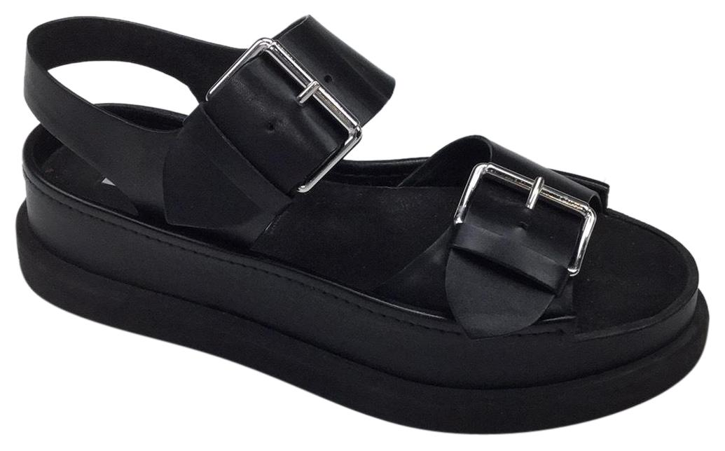 Stella McCartney Black Buckle Platform Sandals Size EU 39 (Approx. US 9) Regular (M, B)
